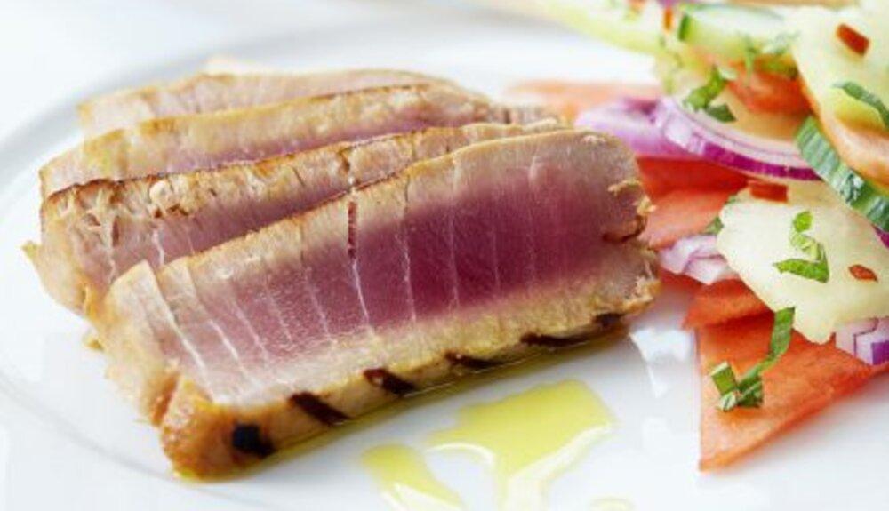 Gegrilde tonijn met watermeloen