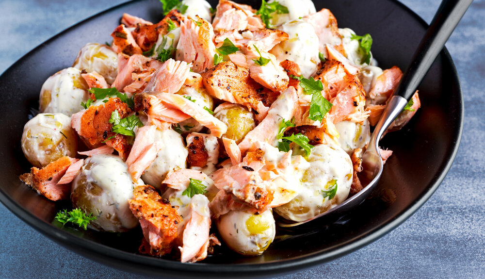 Zalm met aardappelsalade